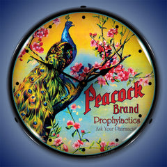 "Peacock Brand Prophylactics 14"" LED Wall Clock"