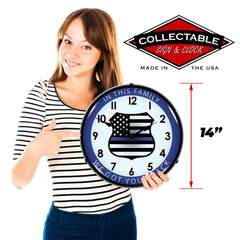 "Thin Blue Line ""In This Family We Got Your Back"" 14"" LED Wall Clock"