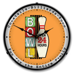 "Bowling Open 24 Hours 14"" LED Wall Clock"