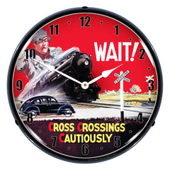 "Cross Crossings Cautiously Railroad Safety 1 14"" LED Wall Clock"