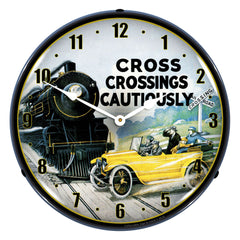 "Cross Crossings Cautiously Railroad Safety 2 14"" LED Wall Clock"