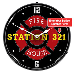 "Personalized Custom Fire Station 14"" LED Wall Clock"