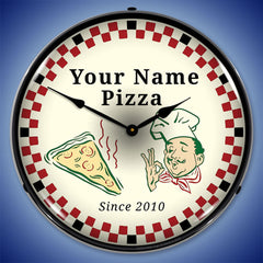 "Personalized Custom Pizza Parlor 14"" LED Wall Clock"