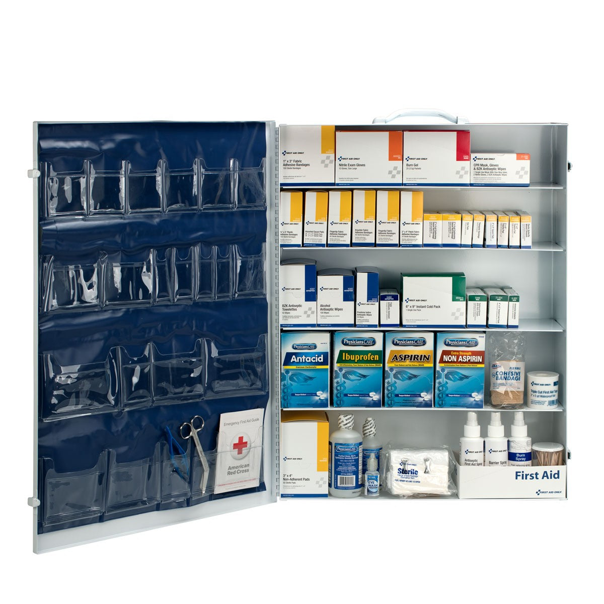 First Aid Only 200 Person 5 Shelf First Aid Industrial Metal Cabinet With Pocket Liner