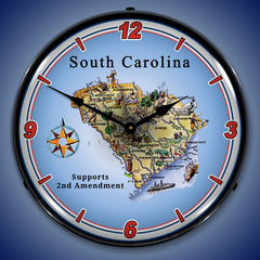 "South Carolina Supports the 2nd Amendment 14"" LED Wall Clock"
