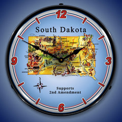 "South Dakota Supports the 2nd Amendment 14"" LED Wall Clock"