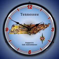 "Tennessee Supports the 2nd Amendment 14"" LED Wall Clock"