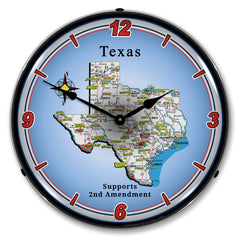"Texas Supports the 2nd Amendment 14"" LED Wall Clock"