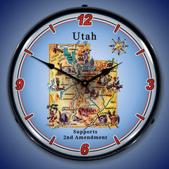 "Utah Supports the 2nd Amendment 14"" LED Wall Clock"