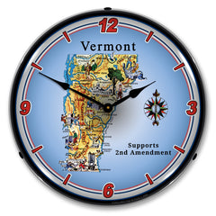 "Vermont Supports the 2nd Amendment 14"" LED Wall Clock"