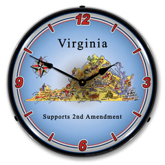 "Virginia Supports the 2nd Amendment 14"" LED Wall Clock"