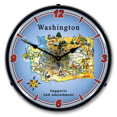 "Washington Supports the 2nd Amendment 14"" LED Wall Clock"
