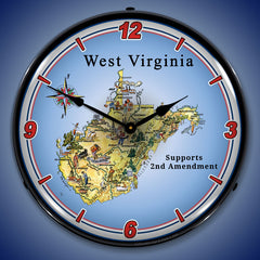 "West Virginia Supports the 2nd Amendment 14"" LED Wall Clock"