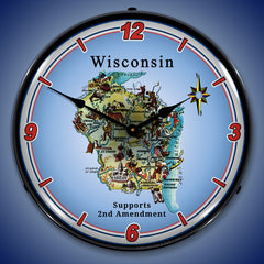 "Wisconsin Supports the 2nd Amendment 14"" LED Wall Clock"