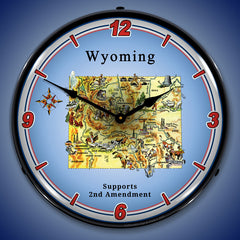 "Wyoming Supports the 2nd Amendment 14"" LED Wall Clock"
