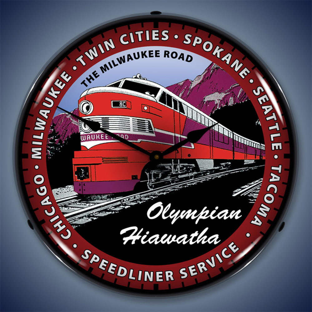 "Olympian Hiawatha Train ""The Milwaukee Road"" 14"" LED Wall Clock"