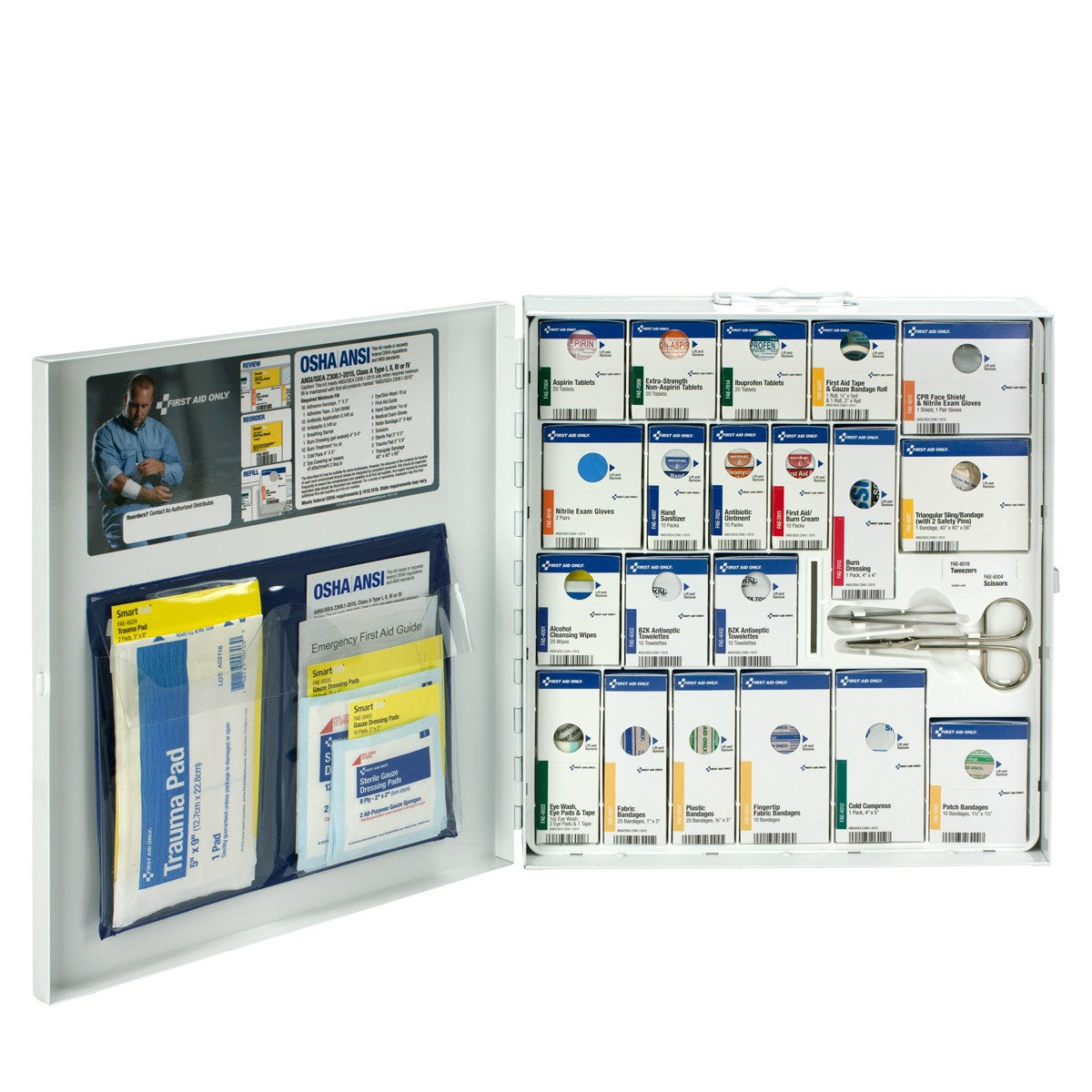 First Aid Only 50 Person Large Metal Smart Compliance First Aid Cabinet With Medication