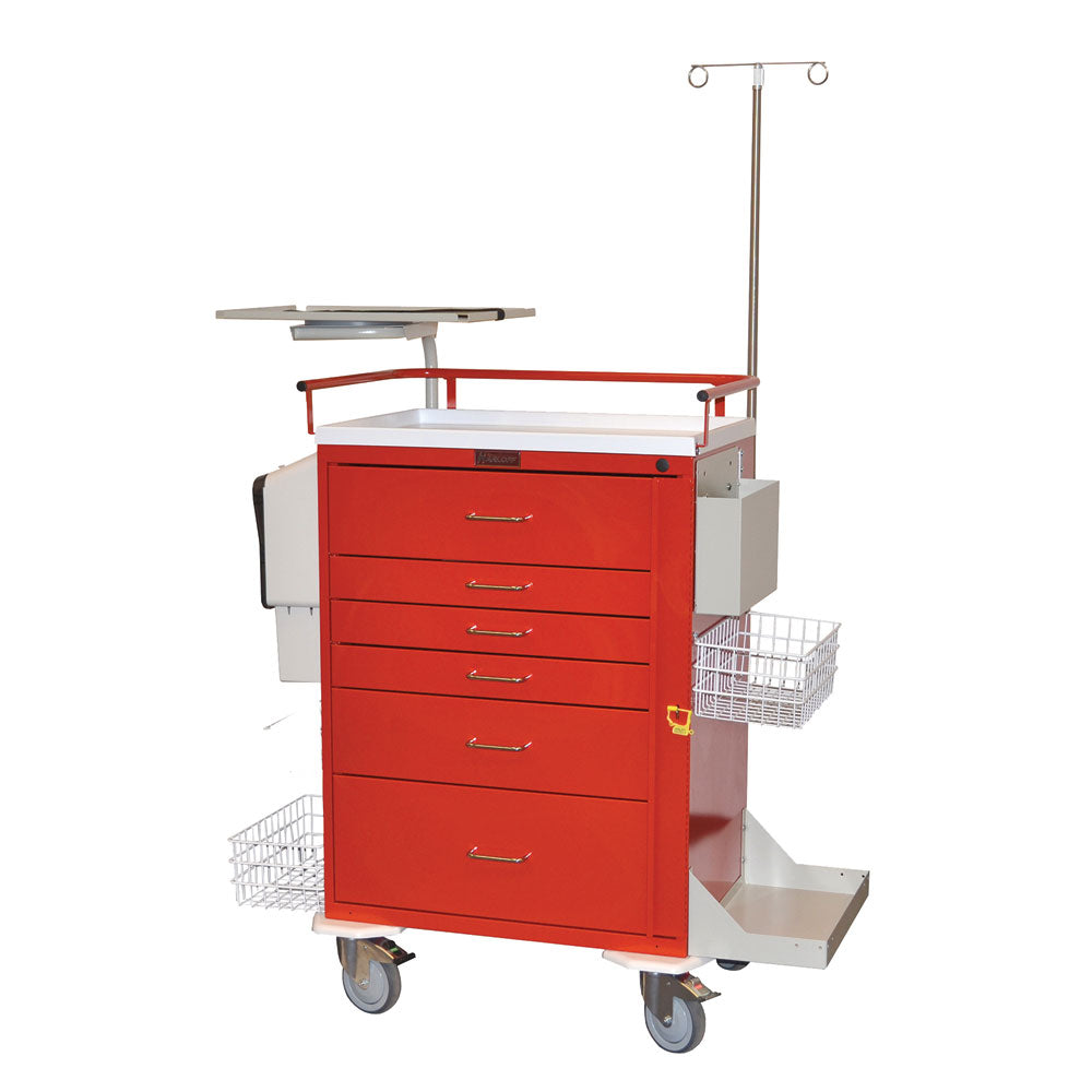 Harloff Classic Line Emergency Cart, 6 Drawers, Super-Stat Package
