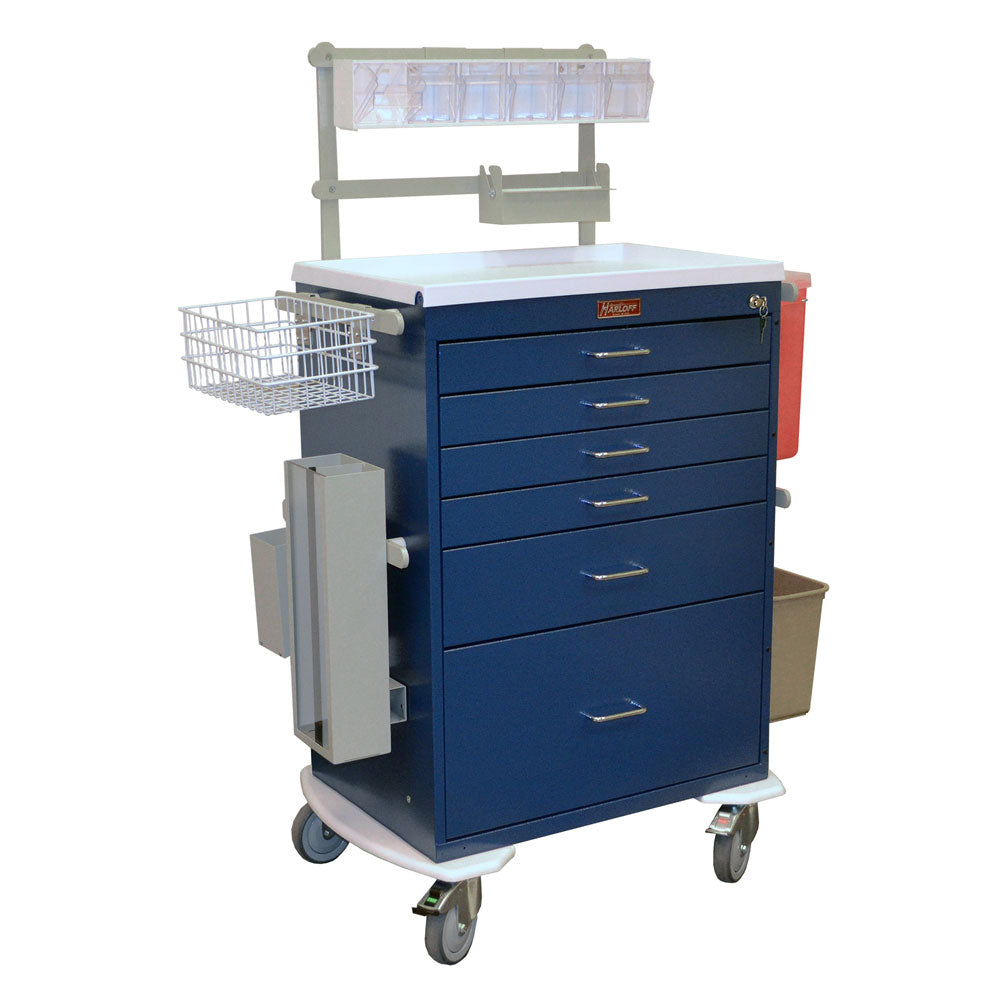 Harloff Classic Line Anesthesia Workstation, Deluxe, 6 Drawers, Key Lock