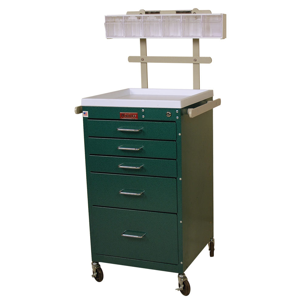 Harloff Mini Line Anesthesia Cart, 5 Drawers, Accessory Package