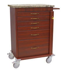 Harloff Emergency Cart, 6 Drawers, Faux Wood Vinyl