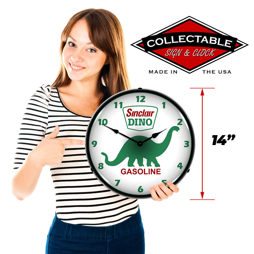 "Sinclair Dino Gasoline 14"" LED Wall Clock"