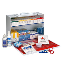 First Aid Only 75 Person 2 Shelf First Aid Metal Cabinet, ANSI B+, Type I and II, with Medications