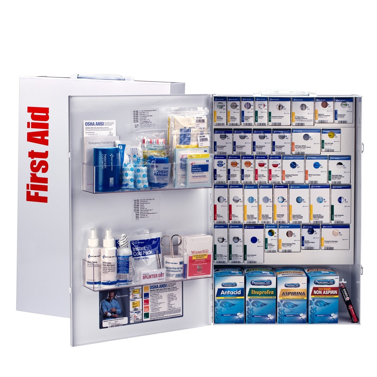 First Aid Only 200 Person XXL Metal Smart Compliance Food Service First Aid Cabinet with Medications