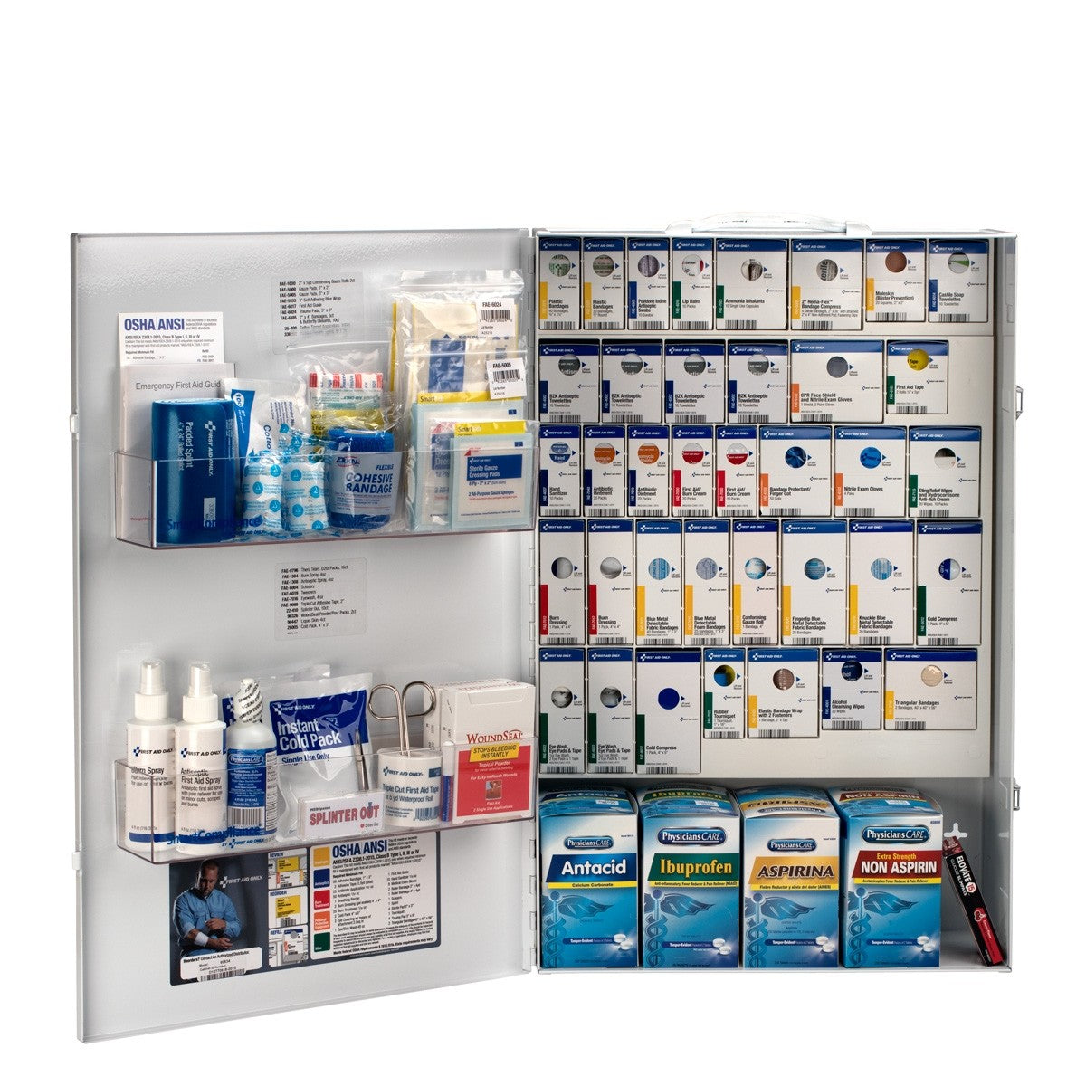 First Aid Only 2 Person XXL Metal Smart Compliance Food Service First Aid Cabinet with Medications