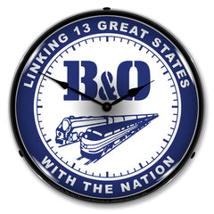 "B&O ""Linking 13 States with the Nation"" 14"" LED Wall Clock"