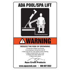 "Aqua Creek Pool Lift Sign, ""ADA Lift Available"""