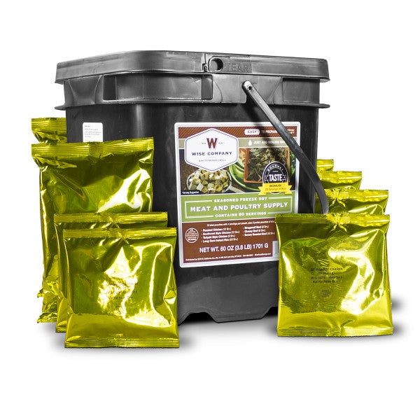 WISE Company 120 Serving Meat Package Includes 2 Freeze Dried Meat Buckets