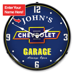 "Personalized Custom Chevrolet Garage 14"" LED Wall Clock"