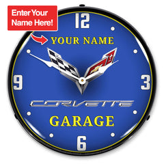 "Personalized Custom C7 Corvette Garage 14"" LED Wall Clock"