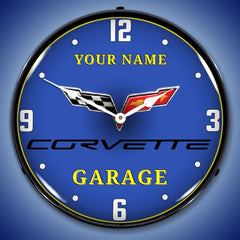 "Personalized Custom C6 Corvette Garage 14"" LED Wall Clock"