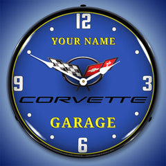 "Personalized Custom C5 Corvette Garage 14"" LED Wall Clock"