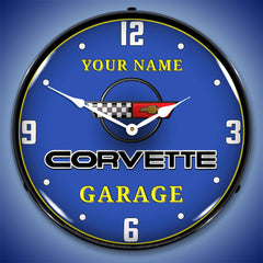 "Personalized Custom C4 Corvette Garage 14"" LED Wall Clock"