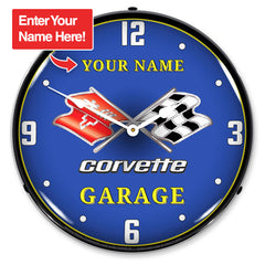 "Personalized Custom C3 Corvette Garage 14"" LED Wall Clock"