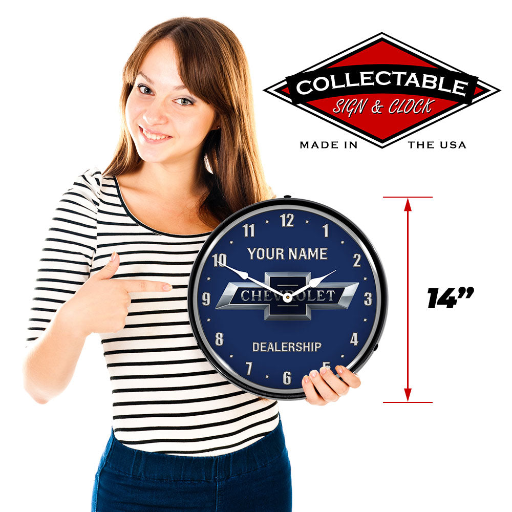 "Personalized Custom Chevy Bowtie 100th Anniversary 14"" LED Wall Clock"