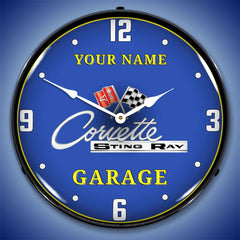 "Personalized Custom C2 Corvette Garage 14"" LED Wall Clock"