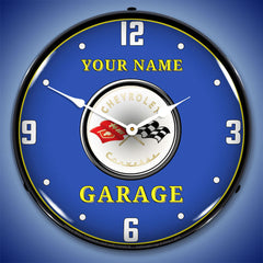 "Personalized Custom C1 Corvette Garage 14"" LED Wall Clock"