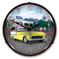 "1955 Bel Air at Mitch's Garage Station 14"" LED Wall Clock"