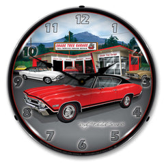 "1968 SS Chevelle at Shade Tree Garage 14"" LED Wall Clock"