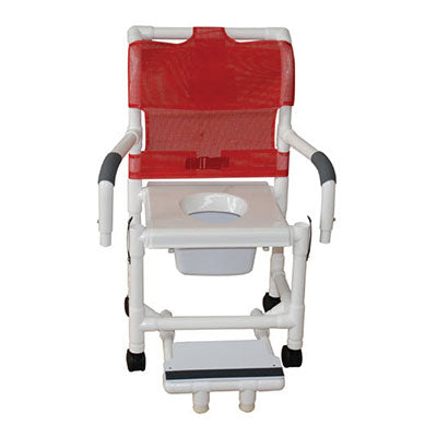 MJM Shower Commode Chair with Vacuum Seat and Double Drop Arms