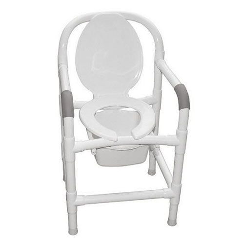 MJM Bedside PVC Commode Chair with Elongated Seat and Open Front Lid