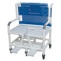 MJM Bariatric Shower Commode Chair with Sliding Self-Storing Footrest