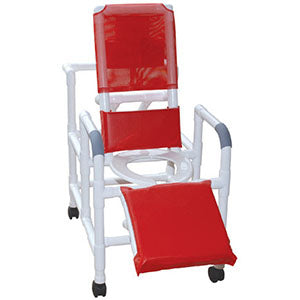MJM Reclining Shower Chair with Deluxe Elongated Open Front Seat and Elevated Leg Extension