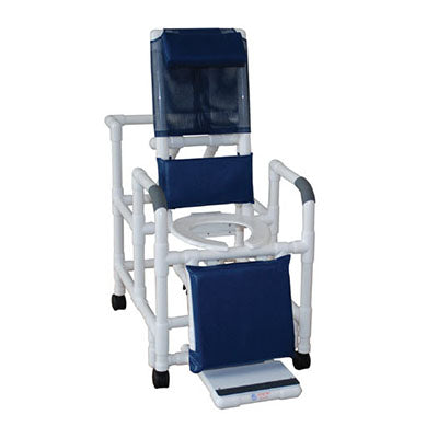 MJM Reclining Shower Chair with Sliding Footrest and Deluxe Elongated Open Front Seat