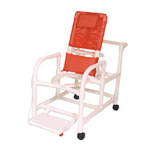 MJM Echo Reclining Shower Chair with Deluxe Elongated Open Front Seat and Folding Footrest