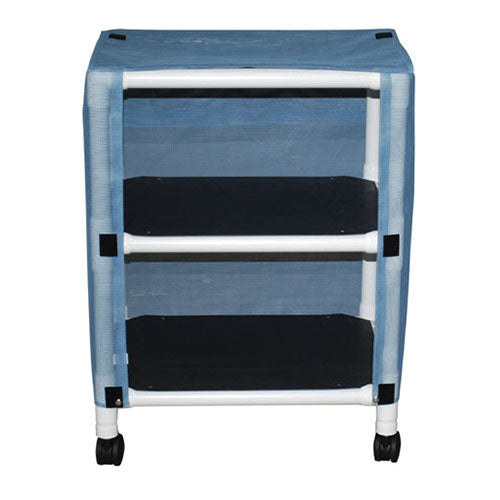 MJM Echo Two-Shelf Linen Cart with Mesh or Solid Vinyl Cover